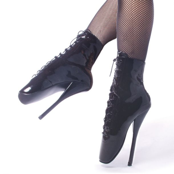 Fetish Heels BALLET-1020 - Lack Schwarz