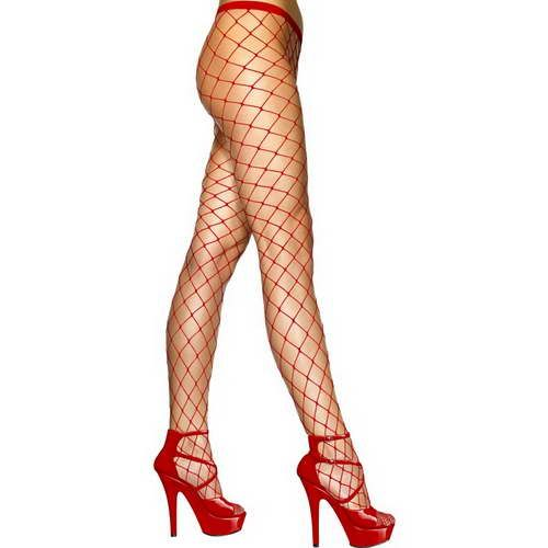 Diamond Net Tights Red*