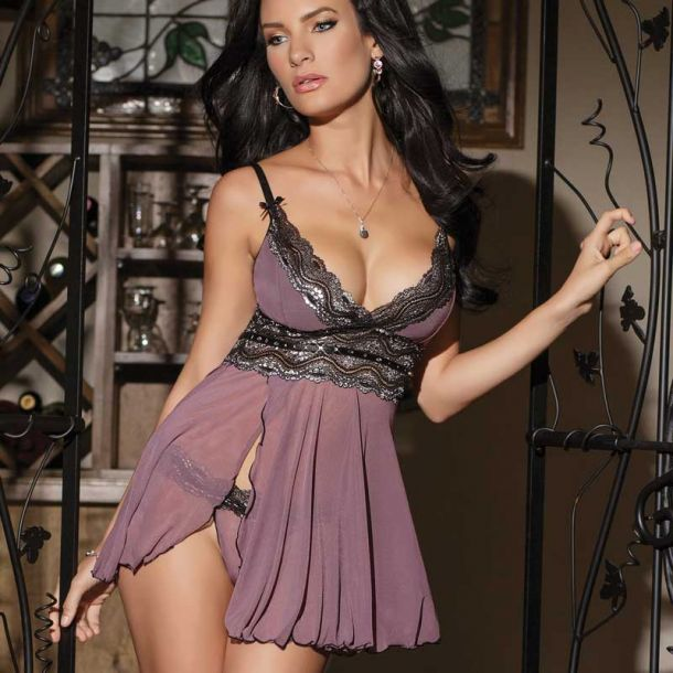 Babydoll with G-String - Mauve/Black