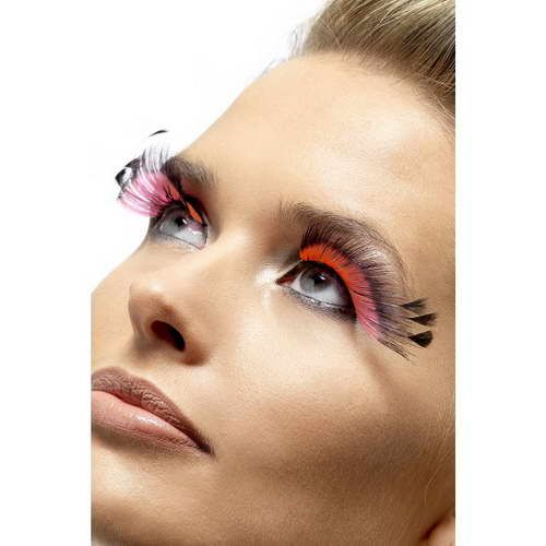 Feather Plume Eyelashes : Black/Pink*