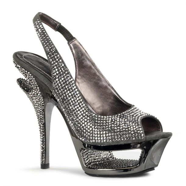 Rhinestone High Heels DELUXE-654RS - Grey