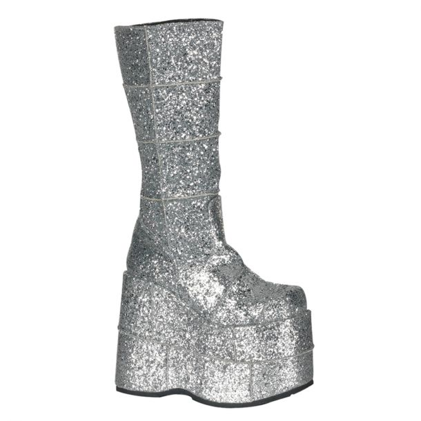 Plateau Stiefel STACK-301 : Glitter Silber*