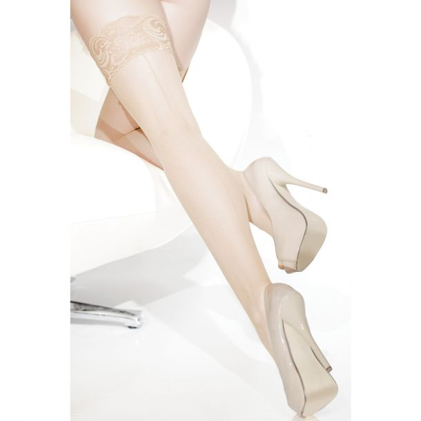 Stay Up Fishnet Stockings with Seam - Nude*