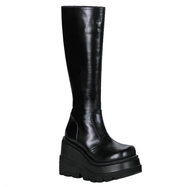 Gothic Knee Boots (Vegan) SHAKER-100 - Faux Leather Black