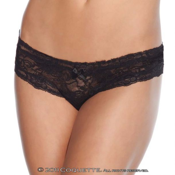 Lace Panty Crotchless - Black
