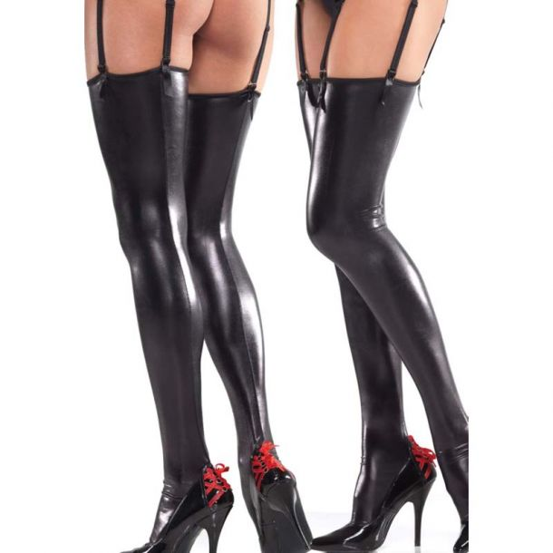 Wetlook Thigh High Stockings - Black*