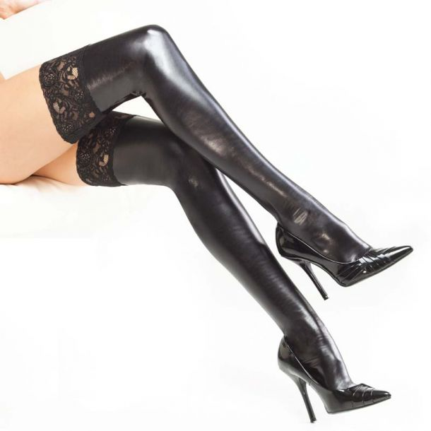 Wetlook Thigh High Stockings with Lace - Black