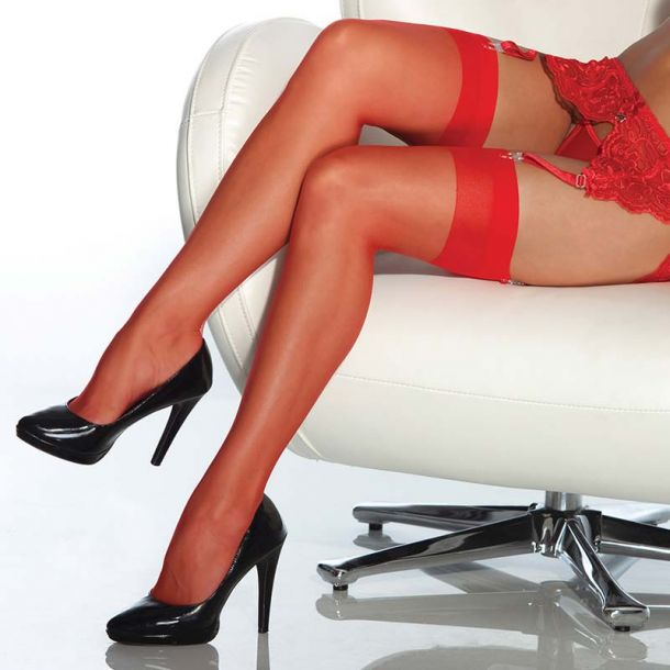 Suspender Stockings - Red