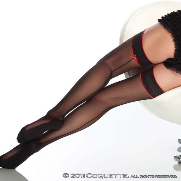 Suspender Stockings - Black/Red*