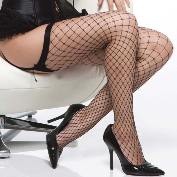 Diamont Net Stockings - Black*