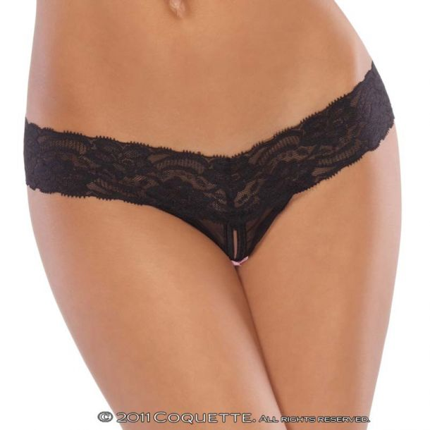 Crotchless Mesh Lace Thong - Black
