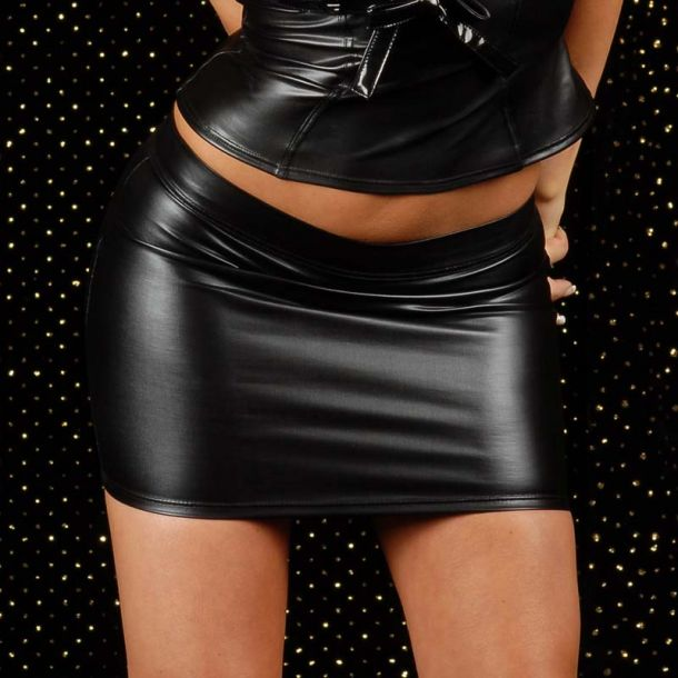 Wetlook Mini Skirt BONBON - Black
