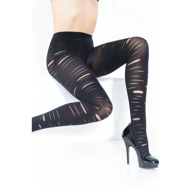 Opaque Slashed Pantyhose - Black*