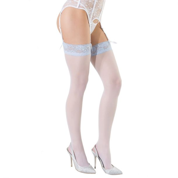 "Bridal Stockings ""I Do"" with Lace - White/Blue*"