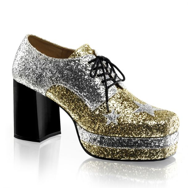 Men Platform Shoes GLAMROCK-02 - Gold Glitter