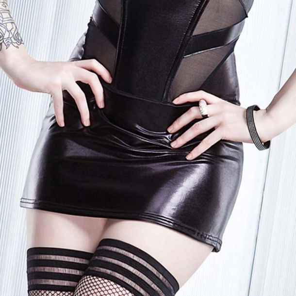Wetlook Mini Skirt : Black*