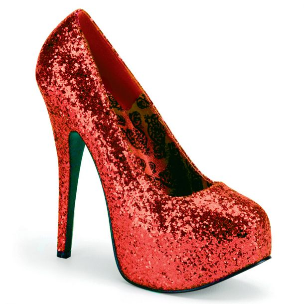 Platform Pumps TEEZE-06GW - Glitter Red (Wide)