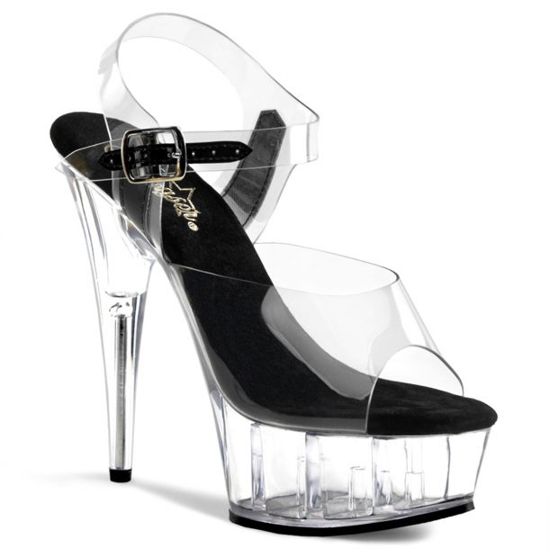 Platform High Heels DELIGHT-608 - Clear/Black