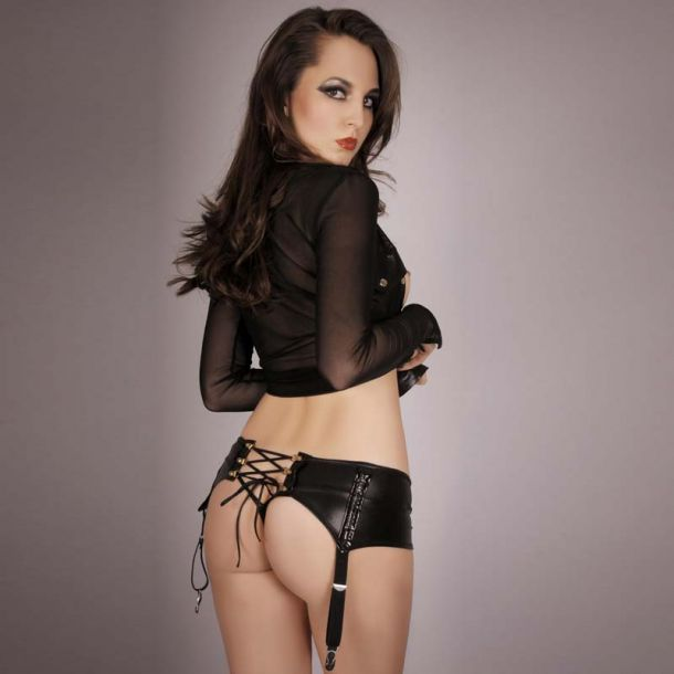 Wetlook Garter Belt with lacing - Black