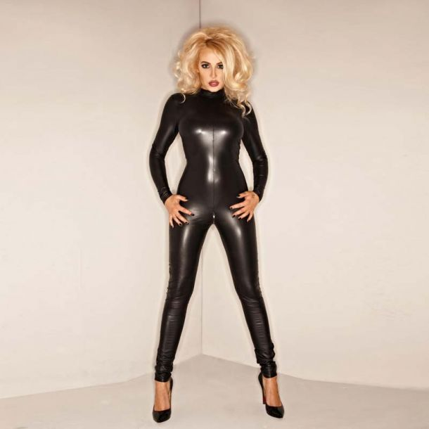 Wetlook Catsuit Backless : Black*