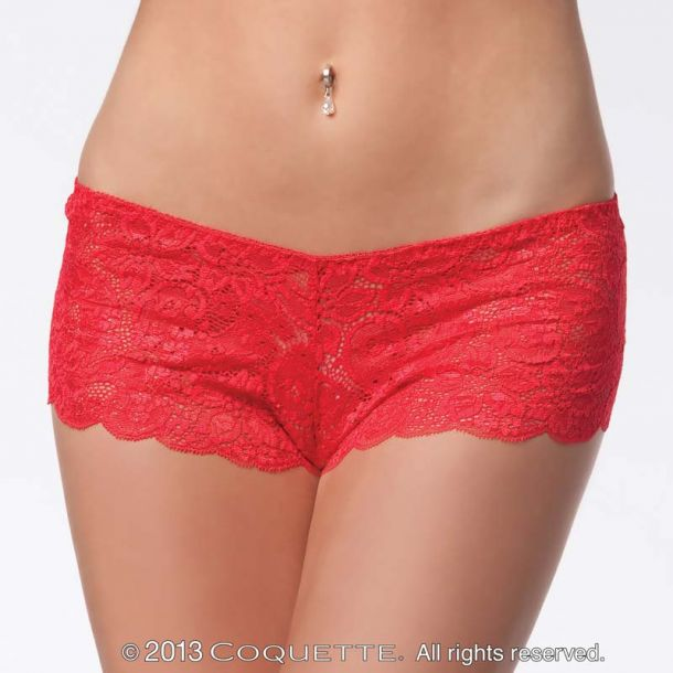 Lace Booty Short - Red