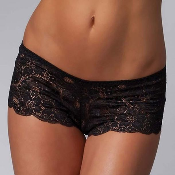 Lace Booty Short : Black*
