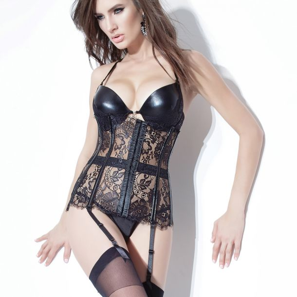 Lace and PVC Waist Cincher - Black