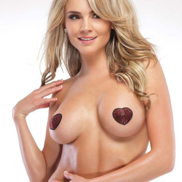 Rhinestone Heart Pasties - Red/Black