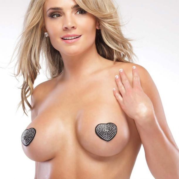 Rhinestone Heart Pasties - Silver/Black