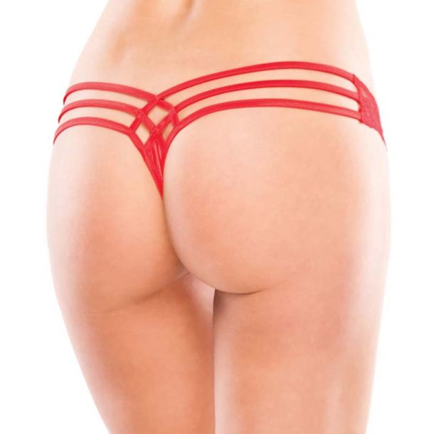 Lace and Lycra Thong - Red