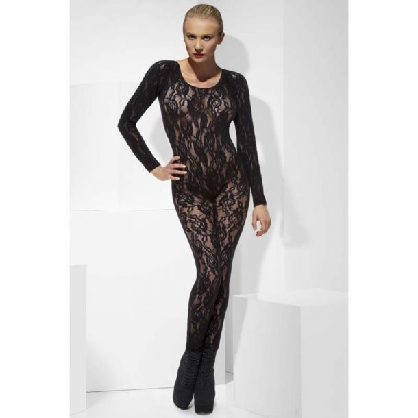 Long Sleeve Lace Bodystocking : Black*