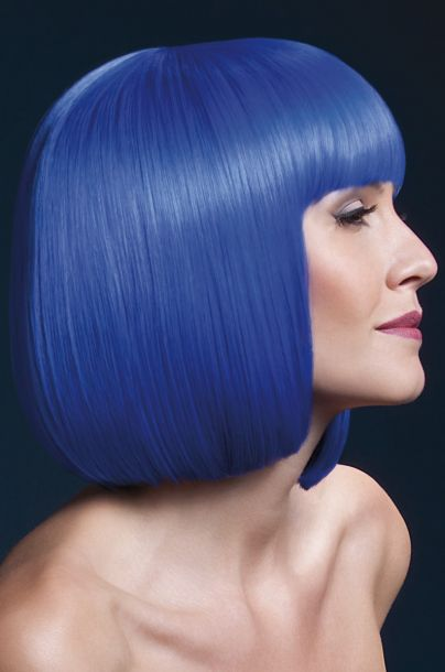 Bob Wig ELISE, medium length - Neon Blue*