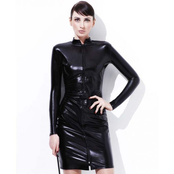 Knee-Length Dress in Wetlook