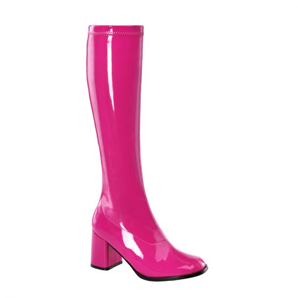 Retro Boots GOGO-300 - Patent hot pink
