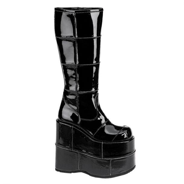 Platform Boots STACK-301 - Patent Black