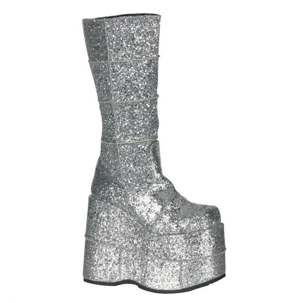 Platform Boots STACK-301 - Glitter Silver