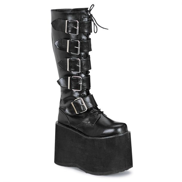 Men Platform Knee Boot MEGA-618 - PU Black
