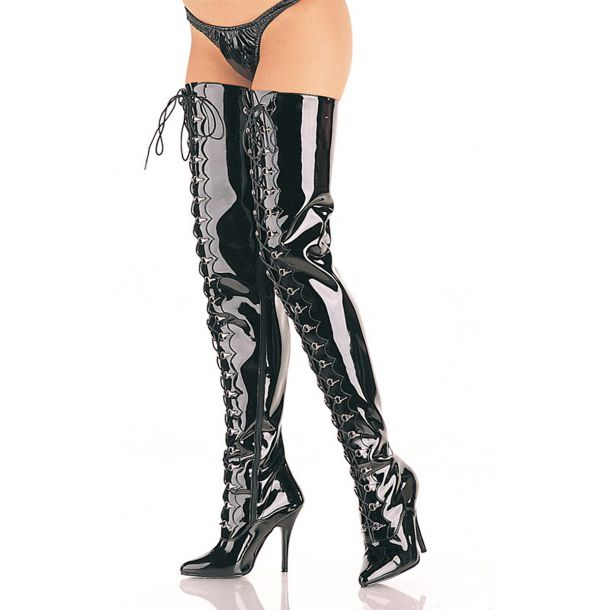 Crotch Boots SEDUCE-4026 - Patent Black