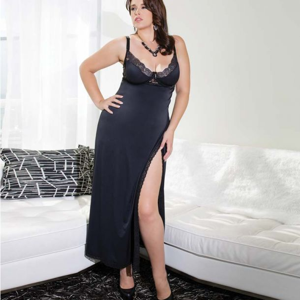 Microfiber Negligee Long - Black