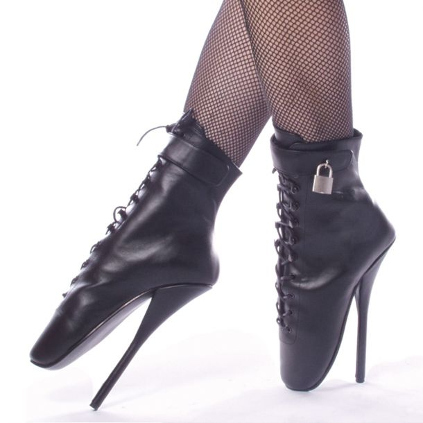 Fetish Heels BALLET-1025 - Leather Black