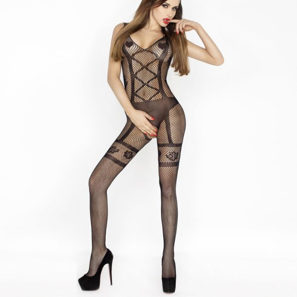 Bodystocking in Suspender Look BS018 - Black*