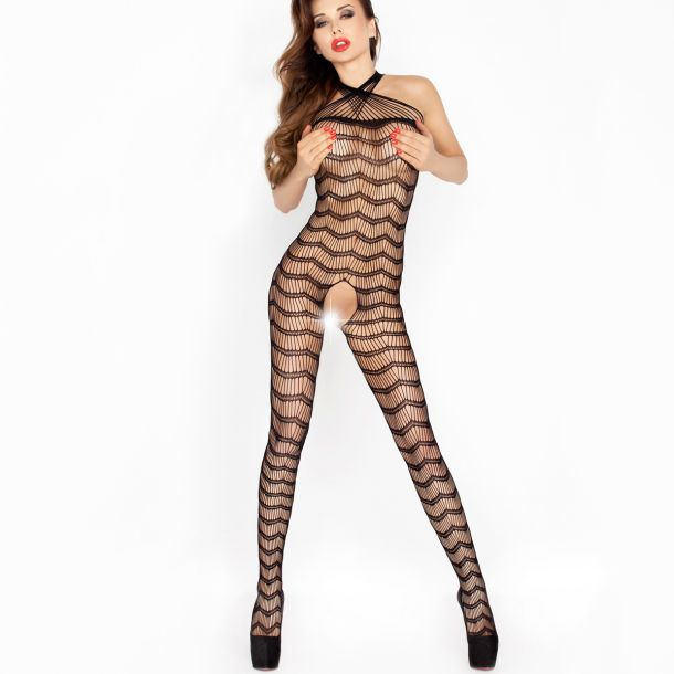 Holderneck Bodystocking Ouvert BS022 - Black*