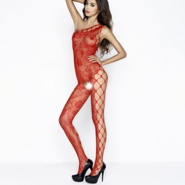 Net Bodystocking with roses BS036 - Red*
