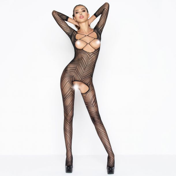 Brustfreier Bodystocking Ouvert BS040 - Schwarz*