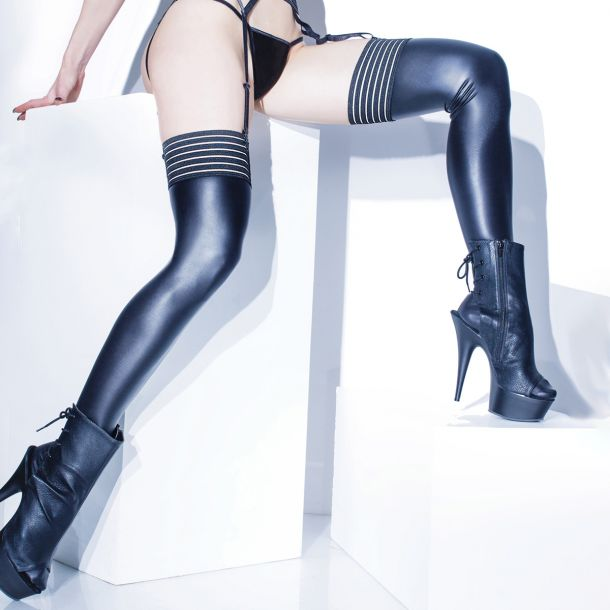 Wet Look Stockings with Striped Top - Black*