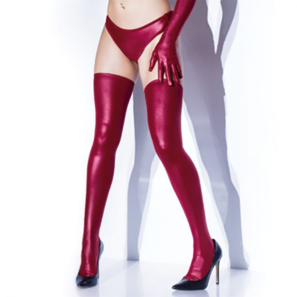 Wet Look Stay Up Stockings - Merlot*