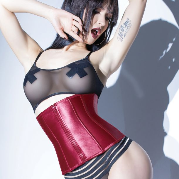 Wet Look Waist Cincher with Back Lacing - Merlot