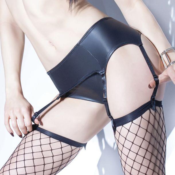 Matte Wet Look Garter Belt - Black*