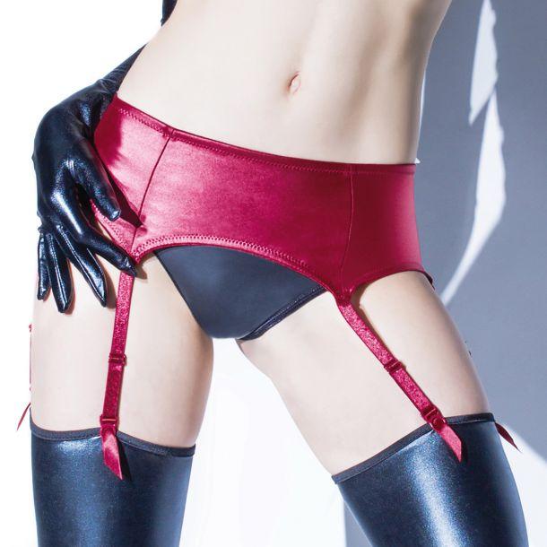 Matte Wet Look Garter Belt - Merlot*