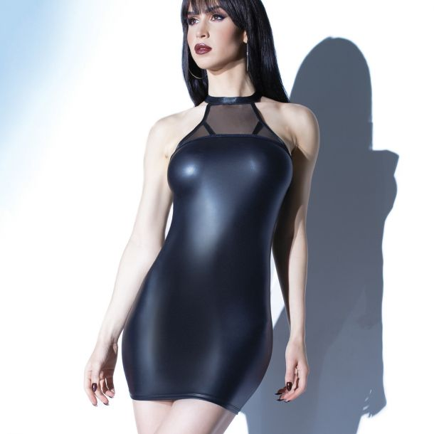 Wetlook Neckholder Mini Dress with Mesh - Black Matte